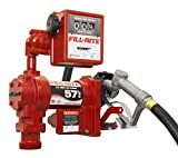 Fill-Rite FR1211GL 12V DC Pump, Suction Pipe, 3/4''x12' Hose, 1'' Inlet & 3/4'' Manual Nozzle, 807C Meter Liter