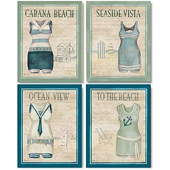 Amazon.com: WallsThatSpeak 4 Vintage Bathing Suit Art