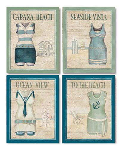 Vintage Bathing Suits: Cabana Beach, Seaside Vista, Ocean View, to the Beach; Four 8x10in Prints by PosterArtNow
