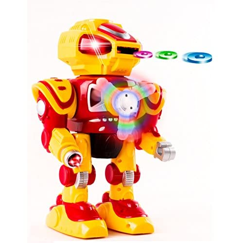 Nice Android Battery Operated Disc Shooting Toy Robot Walking, Flashing Lights, Talking, Spinning, Disc Shooting Toy Robot by Vokodo hot sale