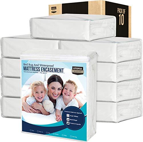 Utopia Bedding Zippered Mattress Encasement Waterproof Mattress Protector (Twin XL) – Bed Bug Covers (Pack of 10)