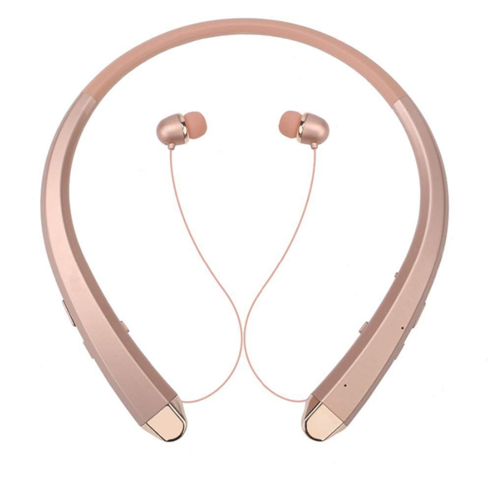 QT S HBS 910 CSR Tone+ V4.1 Wireless Bluetooth Headphones Sports Neckband Mic Noise Cancelling HD Stereo, Sweat Proof Earphone Sets - Local Packaging - Not LG Harman/Kardon (Rose Gold/Like a New)