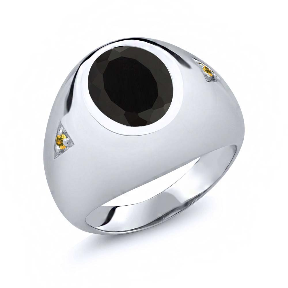 Gem Stone King 4.07 Ct Oval Black Onyx Yellow Simulated Citrine 925 Sterling Silver Mens Ring