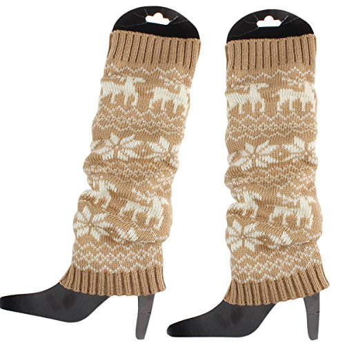 Girls Khaki ieasysexy Hot Knee Sale Boot Cute Knitted for Women Warmer Socks Deer Snowflake Pattern high wOUBwqZr