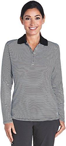 Stripe Short Fine (Coolibar UPF 50+ Women's Performance Polo - Sun Protective (XX-Large- Fine White/Black Stripe))