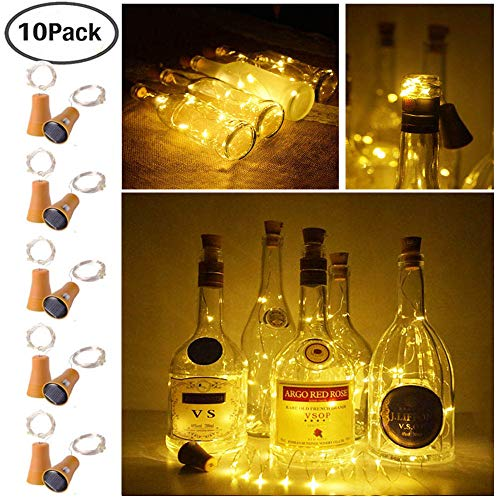 Decem 10 Pack Solar Powered Wine Bottle Lights, 10 LED Waterproof Warm White Copper Cork Shaped Lights for Wedding/Christmas/Outdoor/Holiday/Garden/Patio/Yard/Pathway Decor (Warm White) ()