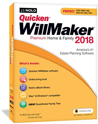 Software : Quicken WillMaker Premium Home & Family 2018 - Windows & Mac - CD & Download - Includes Get It Together eBook