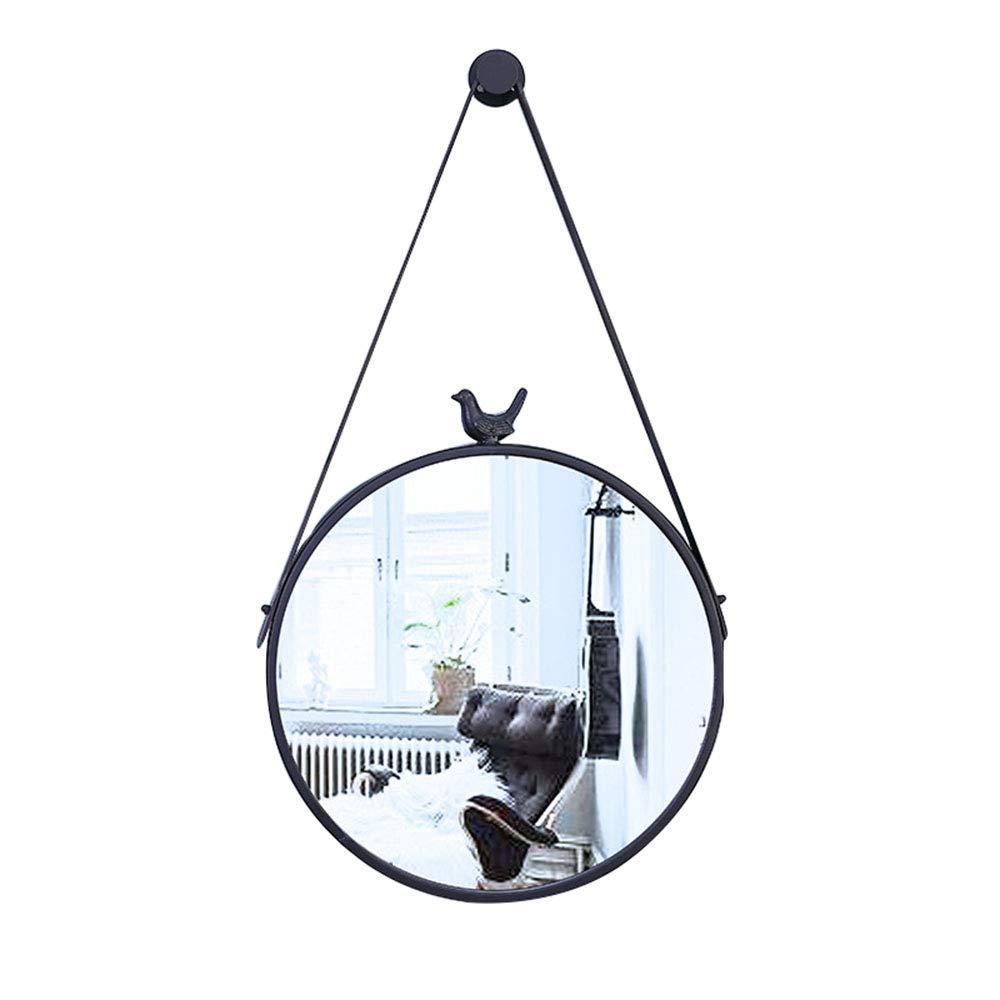Mirror Wall-Mounted Fashion Round Iron with Border, Bedroom Bathroom Wall-Mounted Vanity Vanity YZRCRK