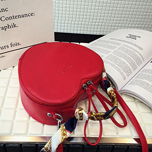 Shaped Heart Women Bag Dabixx Crossbody Handbag Purse Bags Red Tote Shoulder Messenger Red Lady 6RtExxw