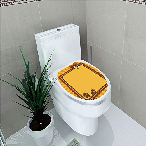 Toilet Sticker,Fiesta,Frame Pattern with Skull Sombrero and Maracas Mexican Elements Geometric,Marigold Red Green,Diversified,W11.8