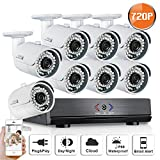 SW SWINWAY 8CH AHD 1080N DVR Security Camera System (8) HD 1280TVL Outdoor CCTV Cameras with IP66 Weather-Proof Metal Housing and Motion Detection IR LED Night Vision Smart Home View Review