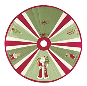 "C & F Enterprises 54"" Green & Red Quilted Tree Skirt With Santa & Ornaments"
