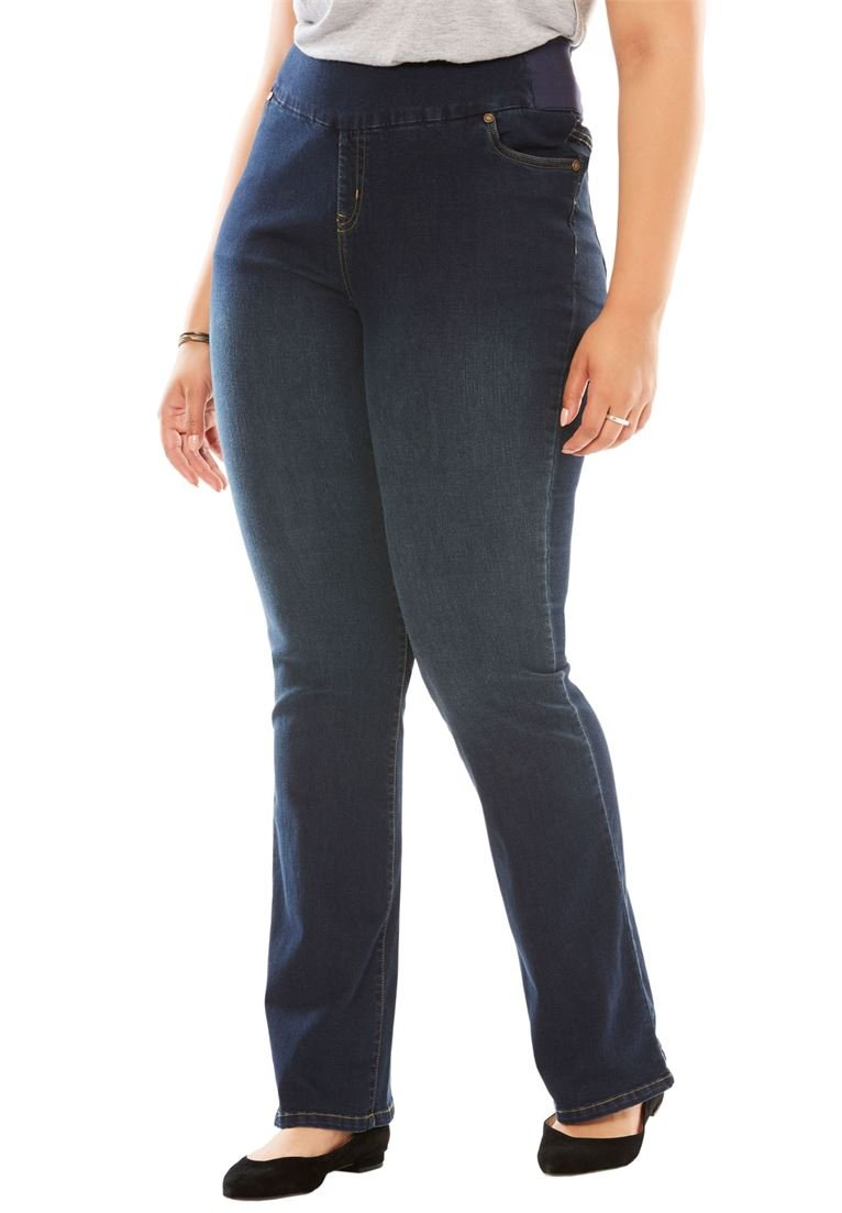 Women's Plus Size Tall Bootcut Smooth Waist Jean Indigo Sanded,24 T