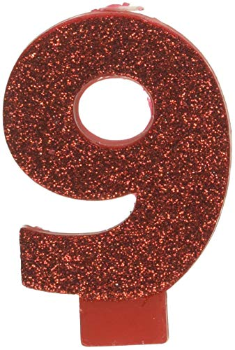 (amscan Birthday Celebration, Numeral #9 Glitter Candle, Party Supplies, Red, 3 1/4