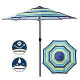 Blissun 9' Outdoor Aluminum Patio Umbrella, Market Striped Umbrella with Push Button Tilt and Crank (Blue & Green Stripe)