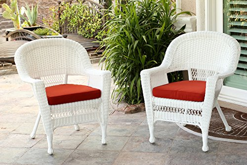 Jeco W00206-C_2-FS018-CS Wicker Chair with Red Cushion, Set of 2, White/W00206- -
