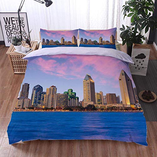 - VROSELV-HOME 3 PCS King Size Comforter Set,Skyline of San Diego California from Coronado Bay,Soft,Breathable,Hypoallergenic,with 1 Pillowcase for Kids Bedding