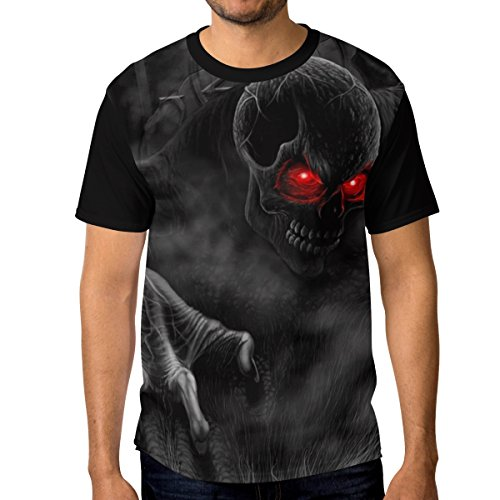 XiangHeFu T Shirt for Men Boys Cool Skulls 3D Red Eyes Custom Short Sleeve