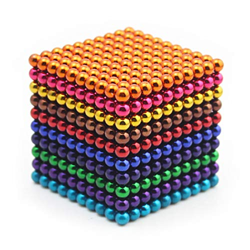 RLRY Upgraded 5MM 1000 Pieces Colorful Magnetic Block Ball Cube Magnet Sculpture Stress Relief for Desk Fridge || Metal Box to Storage