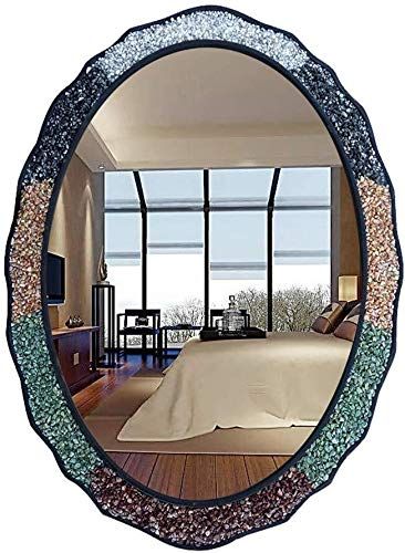 LAOHAO Bathroom Wall Decoration Vanity Mirror Bathroom Wall-Mounted Oval Vanity Mirror Bevel Mirror Wall-Mounted Fitting Mirror Size: 75 × 55cm Lighting Mirror by LAOHAO