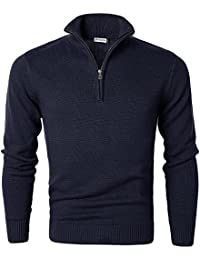 Men's Long Sleeve Turtleneck Zip Up Pullover Knit Casual Sweater