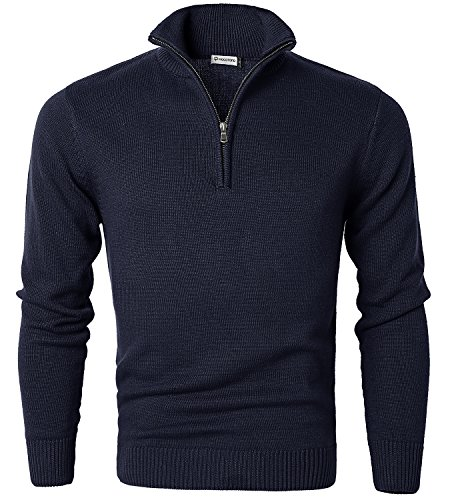 Large Sweater Neck Mens Medium (MOCOTONO Mens Long Sleeve Turtle Neck Zip Pullover Sweater Navy Blue Medium)