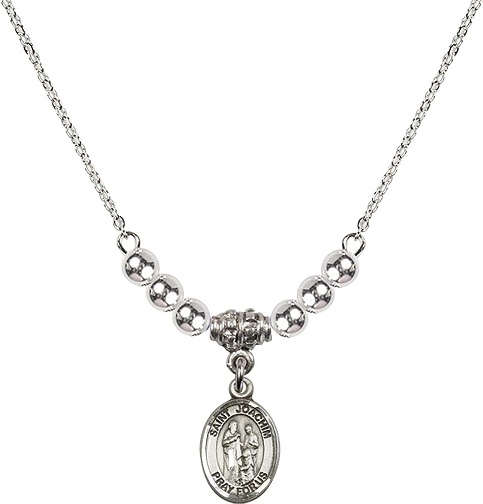 18-Inch Rhodium Plated Necklace with 4mm Sterling Silver Beads and Sterling Silver Saint Joachim Charm.