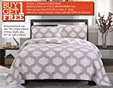 Quilt Set King, Cotton World Li Premium 3 Piece Oversized Coverlet Set as Bedspread Bed Cover Reversible Luxury Light Weight 106'' x 98''/ Pillow Shams 20'' x 36''- Wrinkle & Fade Resistant-King/CA King