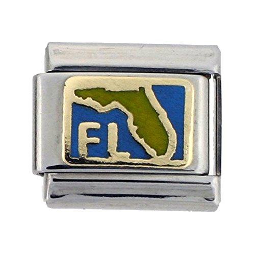Stainless Steel 18k Gold Florida Map Charm for Italian Charm Bracelets Blue Enamel - Florida Italian Charm