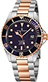 Revue Thommen Mens Diver Watch Automatic Sapphire Crystal - Analog Blue Face Two Tone Metal Band Self Winding Dive Watch Swiss Made - Cool Diving Watches For Men Waterproof 300 Meters 17571.2155