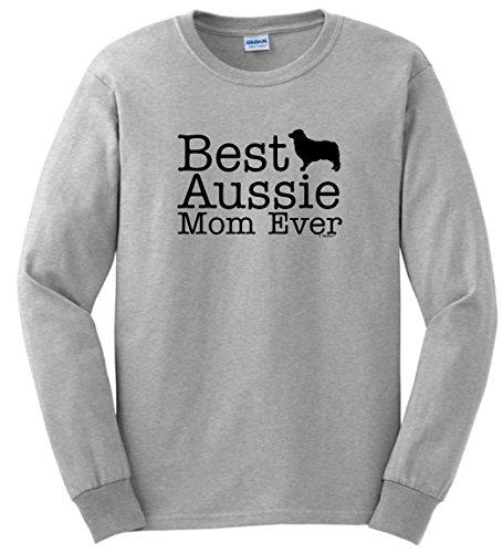 Mom Ash Grey T-shirt (Australian Shepherd Gifts Australian Shepherd Gifts Best Aussie Mom Ever Long Sleeve T-Shirt Medium Ash)