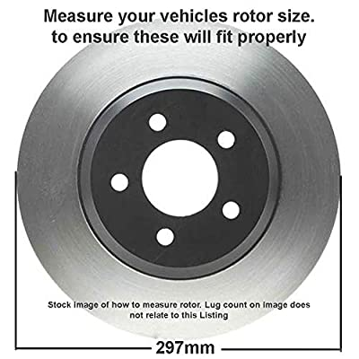 Detroit Axle - Complete 6-LUG (11.69 inches or 297mm) FRONT Brake Kit Rotors & Ceramic Brake Kit Pads w/Clips Hardware Kit MEASURE YOUR ROTORS BEFORE ORDERING: Automotive