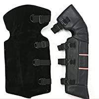 """A.B Crew 1 Pair 27.5"""" PU Leather Windproof Leg Gaiter Adjustable Strap Warm Leggings Covers Unisex Half Chaps for Motorcycle Bike Winter Ski (Straps)"""
