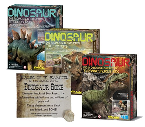 Dig a Dinosaur Excavation Dino Kit T-Rex Stegosaurus and Triceratops Dinosaurs - 3 Pack Includes Authentic Dinosaur Bone! ()