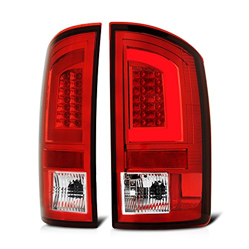 VIPMOTOZ Red Lens Premium OLED Neon Tube LED Tail Light Housing Lamp Assembly For 2007-2008 Dodge RAM 1500 2500 3500 Pickup Truck Driver and Passenger Side Replacement