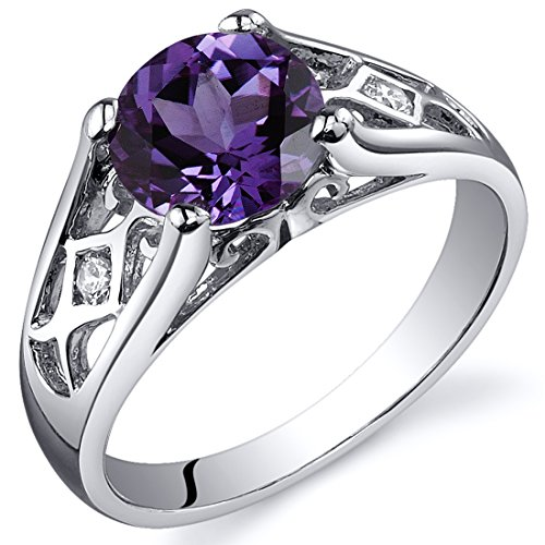 Simulated Alexandrite Cathedral Ring Sterling Silver Rhodium Nickel Finish Sizes 5 to 9