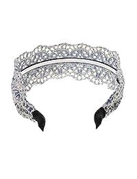 Women Jewelry Hair Accessories Boho Lace Blue Denim Hair Hoop Tiara Headband