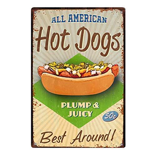 PotteLove Hot Dogs Pancake Vintage Metal Signs Tin Plaque Wall Poster for Garage Man Cave Cafe Bar Pub Beer Dining Room Kitchen Home Decor