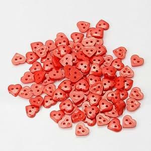 100pcs 10m Dos agujeros de forma de corazón de resina Botones Rojos