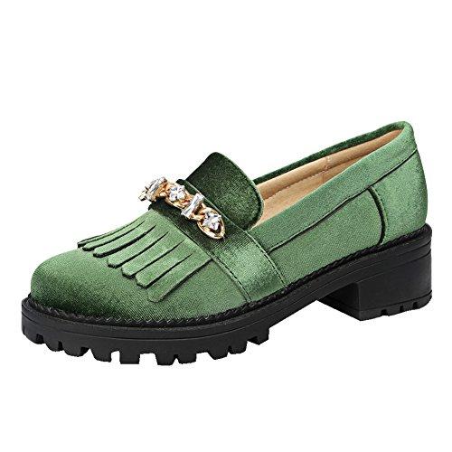 Strass Latasa Femmes Glissent Sur Mocassins À Pampilles Chaussures Vert