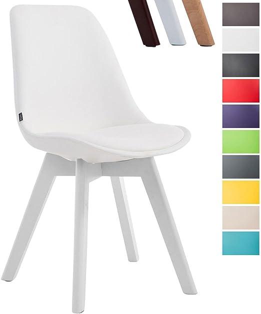 CLP Esszimmerstuhl Manado mit Kunstlederbezug | Lehnstuhl mit Holzgestell | Polsterstuhl erhältlich | Sitzhöhe 47 cm Weiß, Gestellfarbe: Weiß