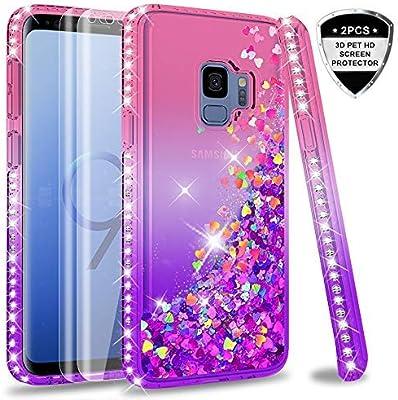 LeYi Compatible with Funda Samsung Galaxy S9 Silicona Purpurina Carcasa con [2-Unidades] 3D Curvo Pet Pantalla,Transparente Cristal Bumper Telefono ...