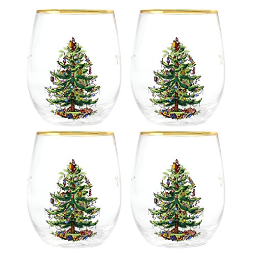 Spode Christmas Tree 16-oz Stemless Wine Glasses, Set of 4