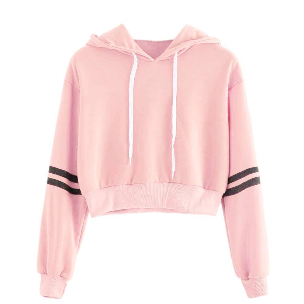 AOJIAN Women Hoodie Long Sleeve Hooded Striped Crop Sweatshirt Jumper Pullover