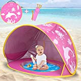 TURNMEON Baby Beach Tent,2020 Upgrade Easy Fold Up & Pop Up Unique Ocean World Baby Tent,50+ UPF UV Protection Outdoor Tent for Aged 0-4 Baby Kids Parks Beach Shade (Pink)