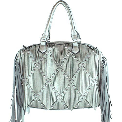 Handle Women's Fringe and Corssbody Grey Handbag Western 6 Boston in Colors gUxwAq