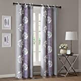 Cheap 1 Piece Girls Lavender Floral Window Curtain 84 Inch Single Panel, Silver Grey Color Flowers Printed Hippy Bohemian Window Treatment, Garden Themed Elegant Sophisticated Natural Grommet Top, Cotton