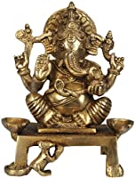 Shri Ganesha with Two Lamps (Altar Piece) - Brass Sculpture