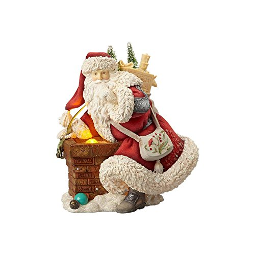 Heart of Christmas Santa Chimney Scene Figurine With Lighted Feature