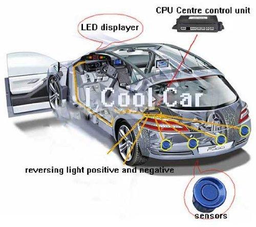 DASHUHUWAI Car LED Parking Sensor Assistance Reverse Backup Radar Monitor System Backlight Display+4 Sensors Parking Sensors LED Display Car Reverse Backup Radar System ()